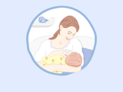 illustration of mum and baby in the relax room
