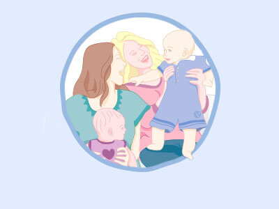illustration of happy mums with her babies after baby bubble experience
